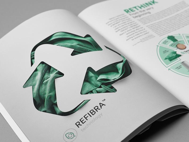 """Das Recyclingsymbol im Katalog """"fibers for the future"""""""