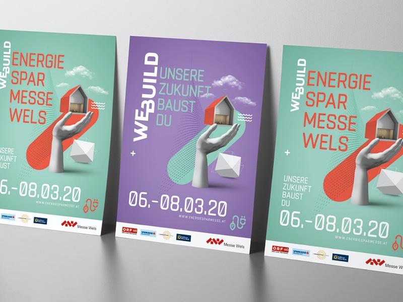 Plakate für die WEBUILD Energiesparmesse Wels