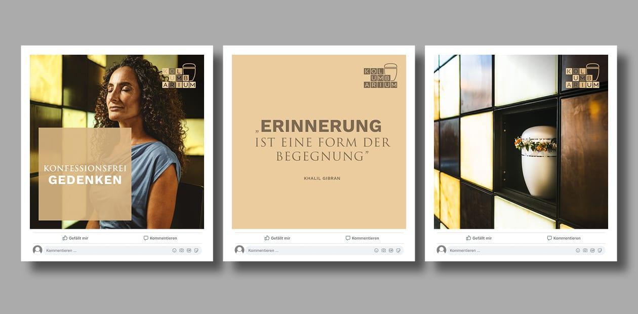 Auswahl an Postingbildern, die für das St. Kamillus Kolumbarium erstellt wurden